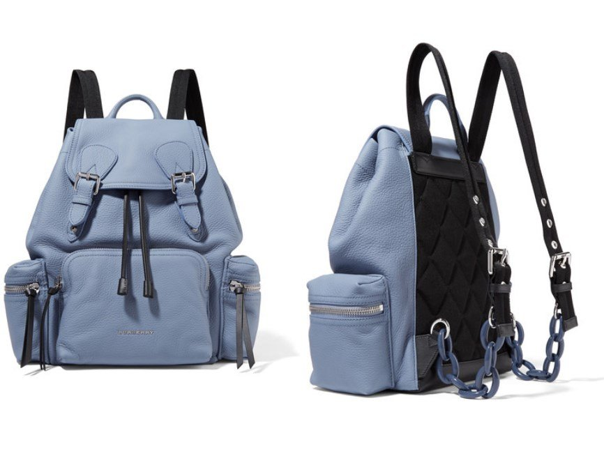 BURBERRY LIGHT-BLUE TEXTURED-LEATHER BACKPACK