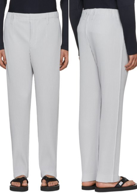 Homme Plissé Issey Miyake Grey Pleated Straight-Leg Trousers