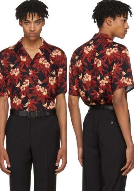 SSS World Corp Red & Black Weed Hibiscus Magnum Hawaiian Shirt