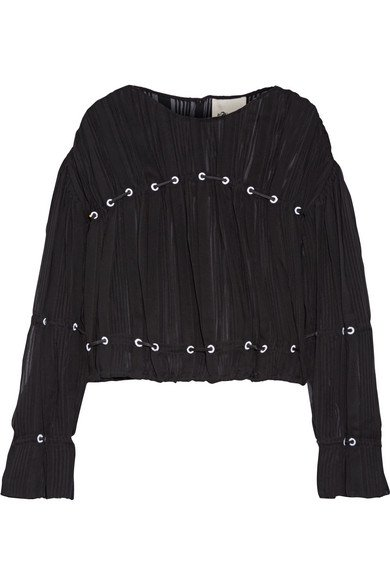 3.1 PHILLIP LIM gorgeous Embellished black pintucked silk-chiffon blouse