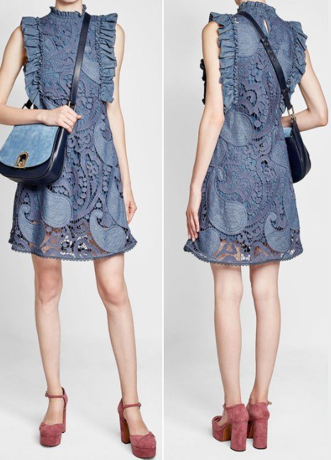CHLOÉ Crochet Embroidered Denim Dress