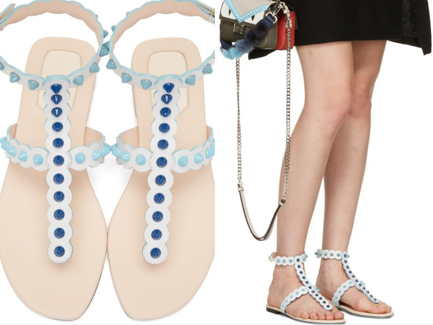 FENDI WHITE STUDDED SANDALS