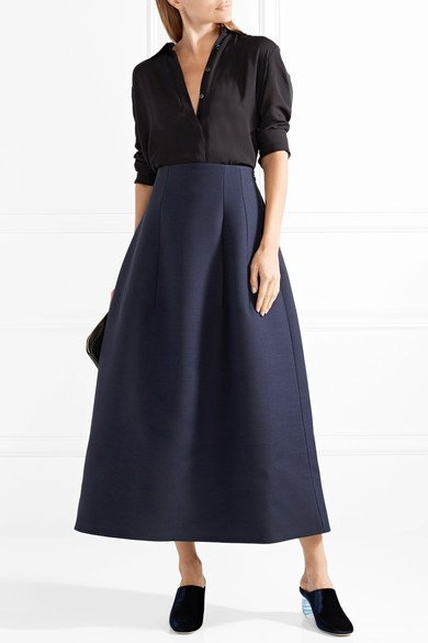 THE ROW Batley wool and silk-blend midi skirt 2
