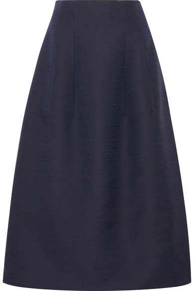 THE ROW Batley wool and silk-blend midi skirt