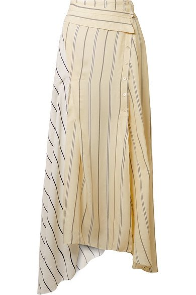3.1 PHILLIP LIM women's fabulous Asymmetric striped twill and satin midi skirt