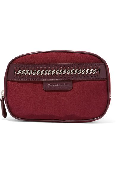 STELLA MCCARTNEY The Falabella cute chain and faux leather-trimmed burgundy cosmetics case