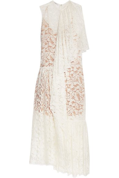 STELLA MCCARTNEY Elen beautiful one-shoulder draped white cotton-blend lace gown