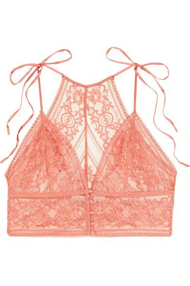 STELLA MCCARTNEY Ophelia Whistling mesmerizing pink stretch-Leavers lace soft-cup bra