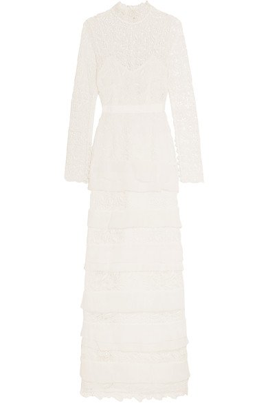 SELF-PORTRAIT Primrose classy crepon-trimmed white guipure lace gown
