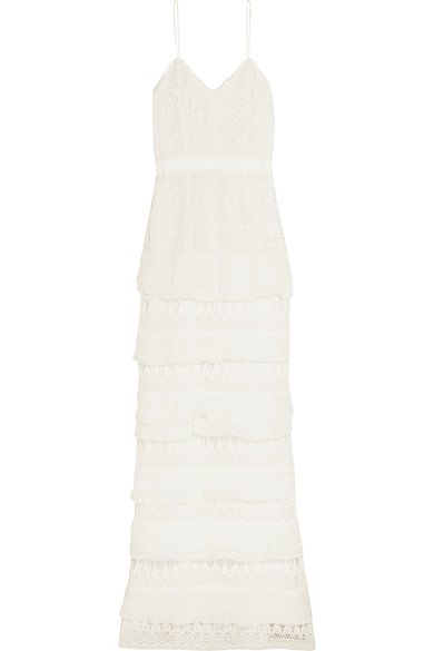 SELF-PORTRAIT Penelope lovely tiered crepon-trimmed white guipure lace gown