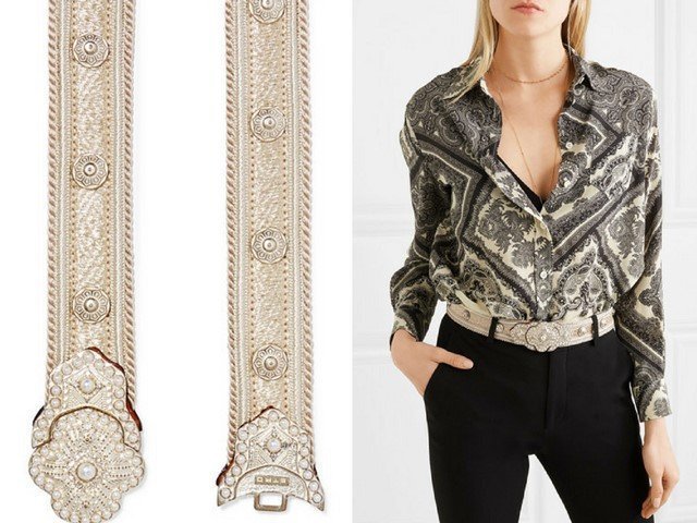 ETRO Crystal and faux pearl-embellished gold-plated cord beltv