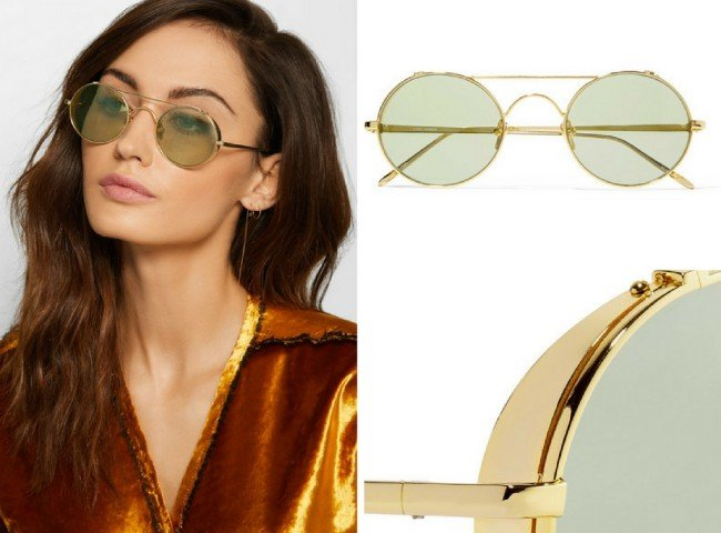 LINDA FARROW Round-frame gold-plated sunglasses