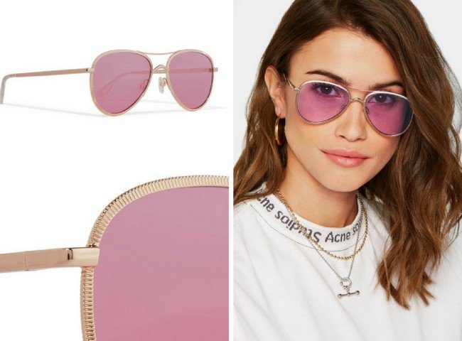 LE SPECS Empire aviator-style rose gold-tone sunglasses