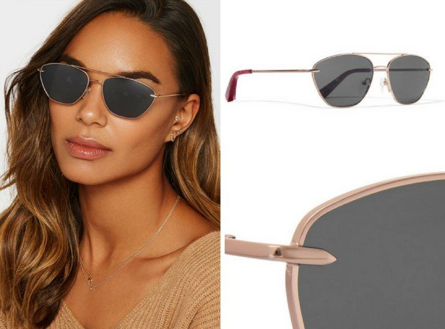 ELIZABETH AND JAMES Johnson aviator-style rose gold-tone sunglasses