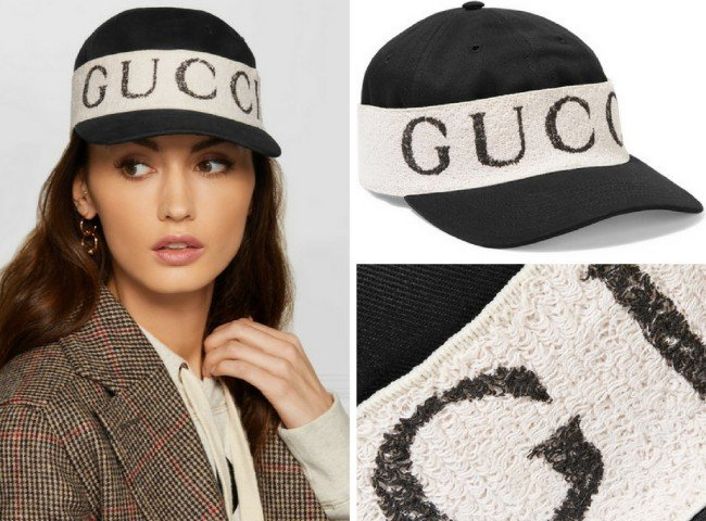 GUCCI Cotton-twill and printed terry baseball cap