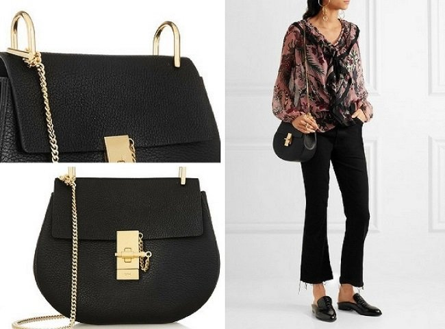 Chlo_ Drew Small Textured-Leather Shoulder Bag