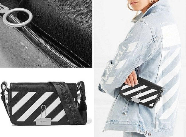 Off-White Mini Striped Textured-Leather Shoulder Bag