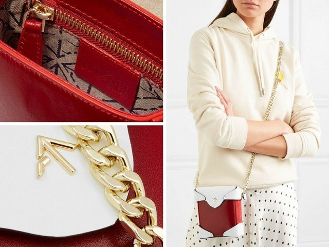 MANU ATELIER Pristine micro two-tone leather and suede shoulder bag