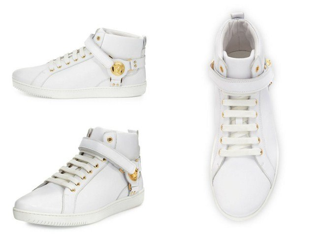Versace Leather Harness Mid-Top Sneaker with Gold Medallion, White