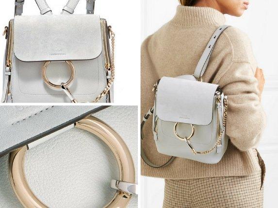 Chloe Faye Small Textured Leather and Suede Backpack