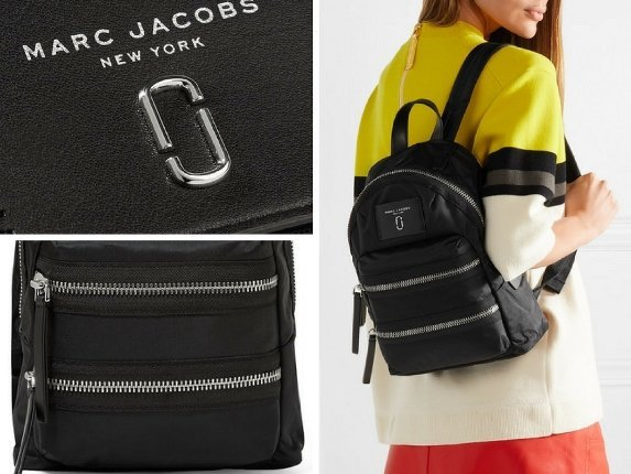 Marc Jacobs Biker Mini-leather Trimmed Shell Backpack