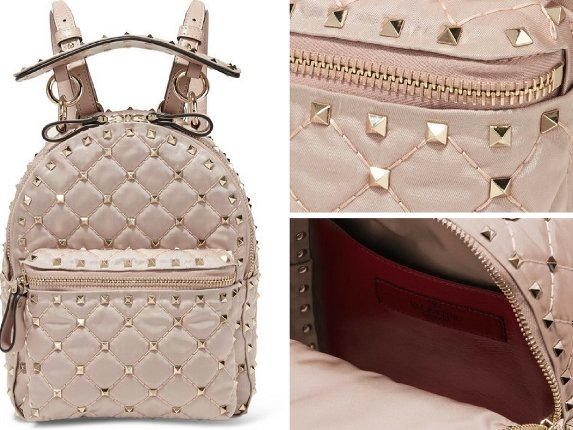 Valentino Rockstud Leather Quilted Satin-Twill Backpack
