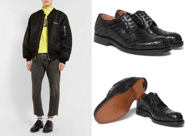 Vetements + Church's Logo-Embossed Leather Derby Shoes