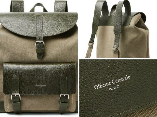 Officine Generale Full-Grain Leather and Canvas Backpack