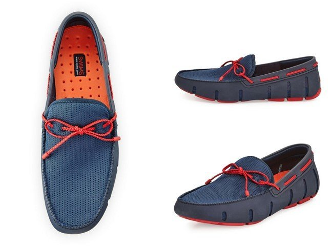 Swims Mesh & Rubber Braided-Lace Boat Shoe, NavyRed