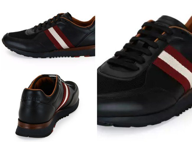 Bally Leather Trainer Sneaker with Trainspotting Stripe, Black