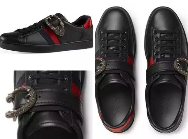 Gucci New Ace Leather Low-Top Sneaker with Dionysus Buckle, Black