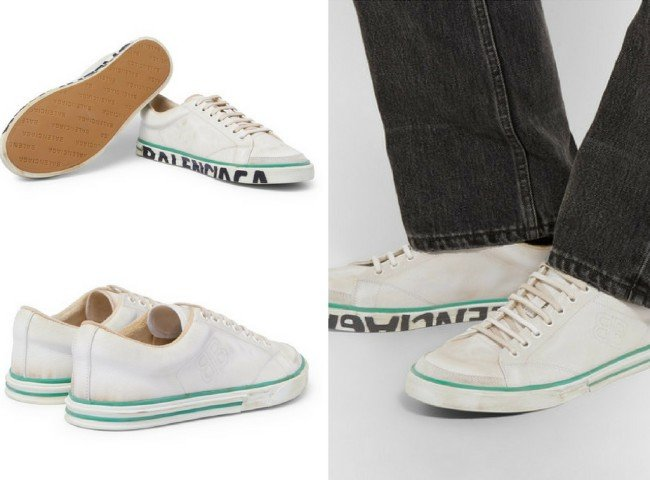 BALENCIAGA Match Tennis Distressed Leather Sneakers