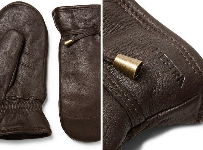 Hestra Shearling-Lined Leather Mittens
