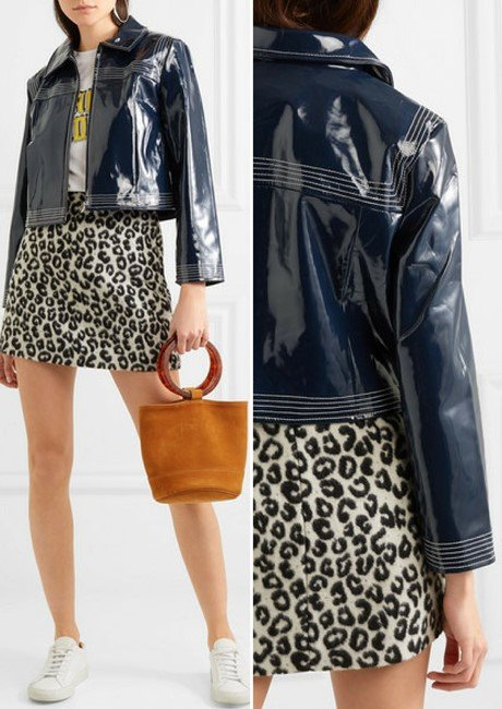 GANNI Cropped faux patent-leather jacket