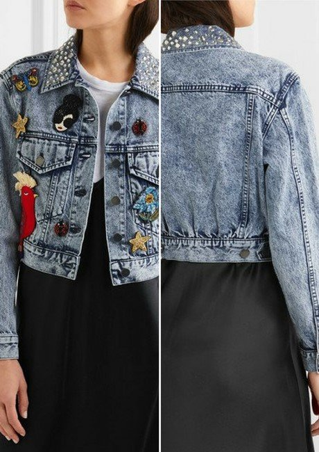 ALICE + OLIVIA CHLOE COOL EMBELLISHED LIGHT BLUE DENIM JACKET