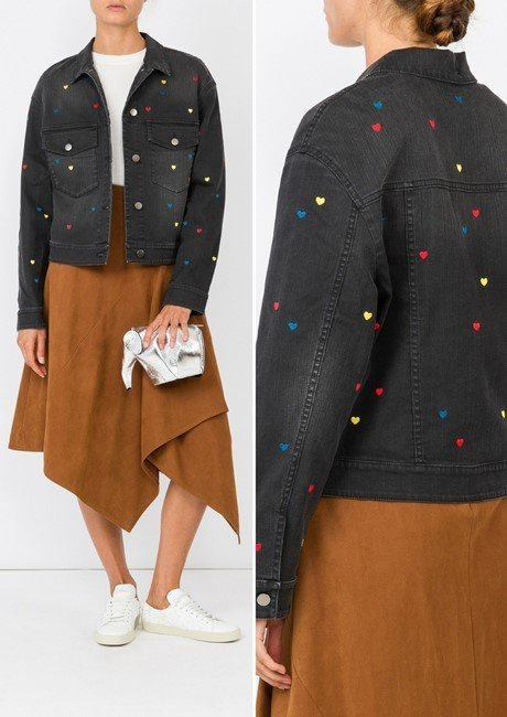 STELLA MCCARTNEY Black Denim Heart Embroidered Jacket