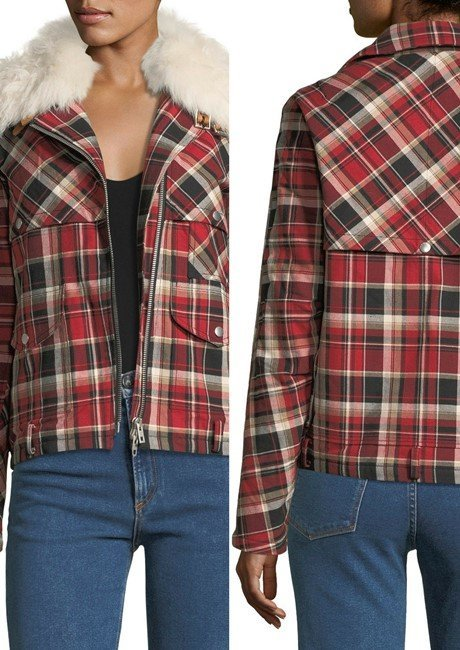 Rag & Bone Etiene Zip-Front Plaid Jacket w Shearling
