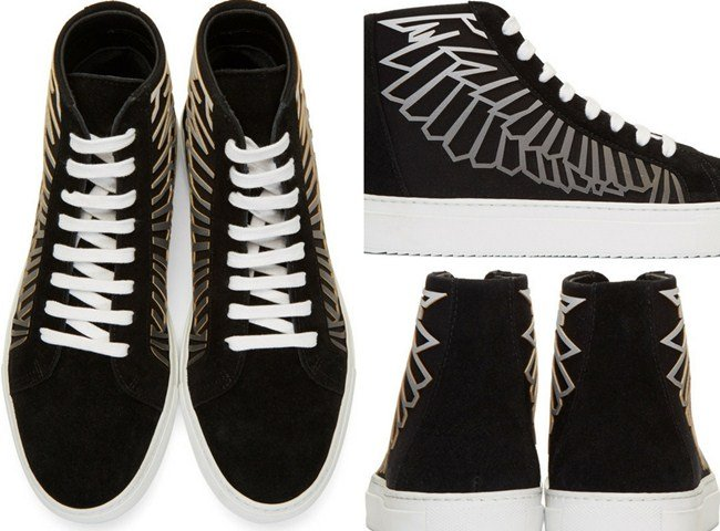 Marcelo Burlon County of Milan Black & Grey Coralie Wings High-Top Sneakers