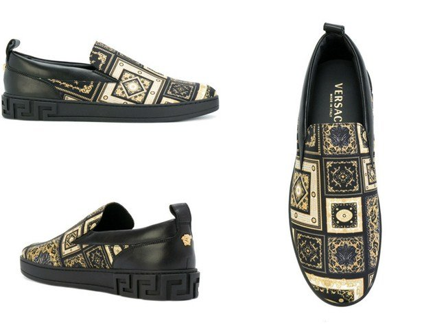 Versace Greek Key embossed loafers