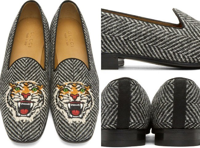 Gucci Black & White Gallipoli Loafers