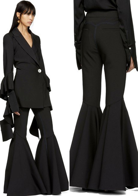 Ellery Black 'The Wild Wild' Full Flare Trousers