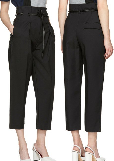 3.1 Phillip Lim Black Origami Pleated Trousers
