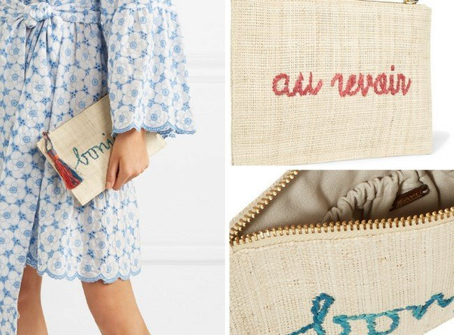 KAYU Embroidered woven straw pouch