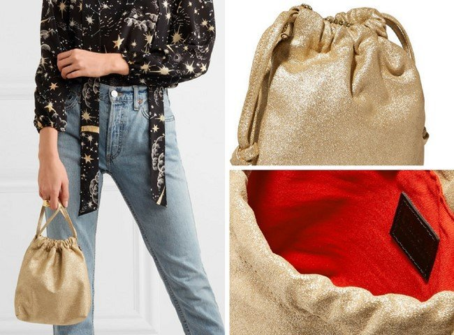 CLARE V. Maison glittered suede pouch