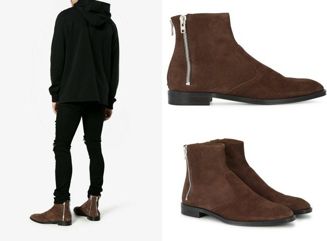 Givenchy Brown Suede triple zip Chelsea boots