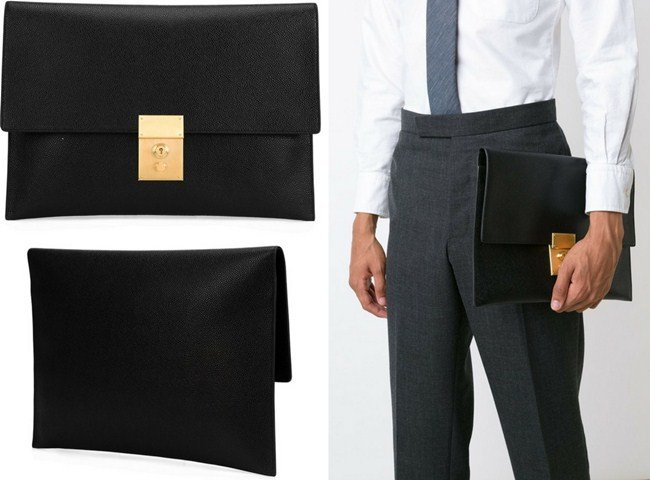 Thom Browne clasp detail clutch bag