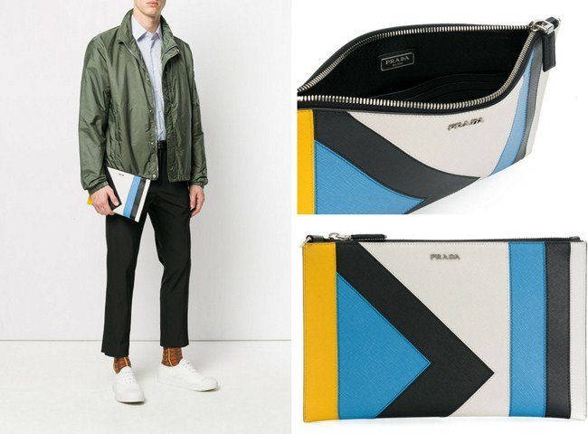 Prada colour block clutch