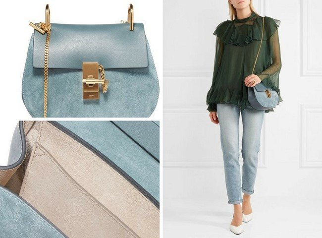 e14a9877960 CHLOÉ DREW SMALL LOVELY LEATHER AND SUEDE SHOULDER BAG
