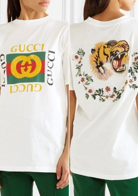 3602373613b6 Gucci Appliqued Distressed Printed White Cotton-Jersey Women's T-Shirt