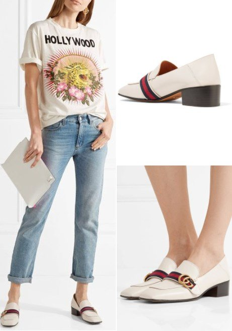 Gucci Lovely Collapsible-Heel White Leather Pumps
